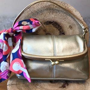 COACH FOLD OVER KISSLOCK MINI BAG W/ PURSE SCARF